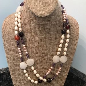 Jewelry - Heavy multi pearl/stone necklace 23 hang length